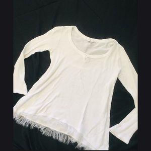 Cabi Henley Long-Sleeve Top Small Raw Hem